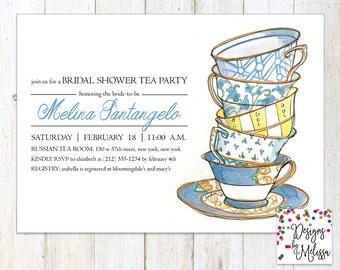 Tea cup invitations | Etsy