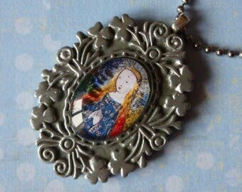 """Necklace - medieval style pendant """"Mater"""" cabochon shown middle ages, distressed silver frame, illumination, silver metal blank"""