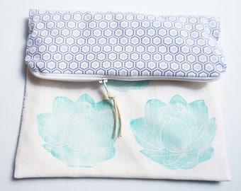 Pocket flaps in printed cotton & linocut turquoise lotus pattern