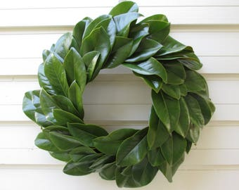 "Green Magnolia Leaf Wreath Large 20"" Size Fresh to Dry, Natural Floral Wedding, Craft or Home Decorating, Holiday, Christmas, Farmhouse"
