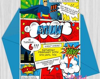 Printable Retro Comic Superhero Invitation | Personalized