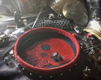 THE RED LITCH -hand tooled leather dice tray