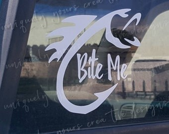 Bite Me Car Decal, Fish Hook Car Decal, Jump on My Rod Car Decal, Reel Girls Fish Car Decal, Funny Decal for Cars, Window Decal, Vinyl Decal