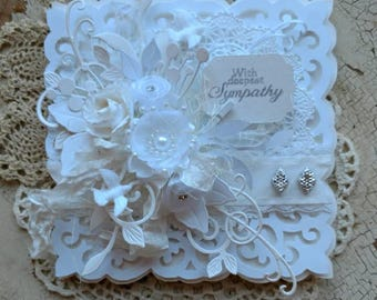 Beautiful Handmade Shabby Chic White Sympathy Greeting Card #WC2017-20