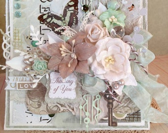 """Beautiful Handmade Mint Green """"Thinking of You"""" Shabby Chic Greeting Card #WC32018-311"""