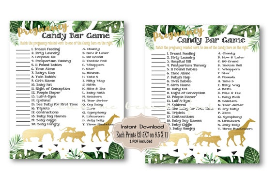 Digital File Baby Shower Candy Bar Game Baby Shower Games Safari