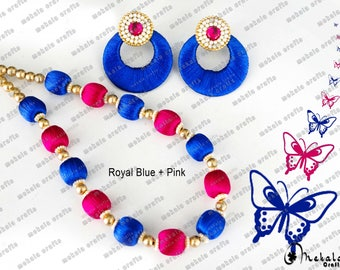 Jewelry set ,  Silk Thread Jewelry , Colorful
