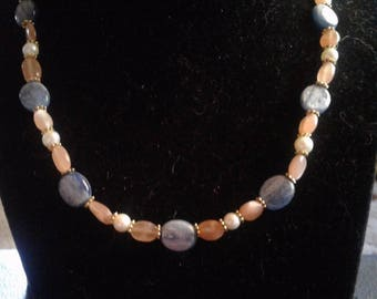Kyanite, Moonstone and Natural White Pearl Beaded Necklace and Bracelet Set, #525