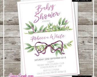 Botanical Baby Shower Party Invitations Personalised with Envelopes -  Pink Glitter File Violet Green Floral