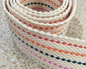 5 Yards, 1.5 inch (3.8 cm.), Cotton-Poly Webbing , Off-White with Mixed Colors Lines, Bag Straps, Purses Straps.