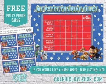 Printable Paw Patrol Potty Training Chart, FREE Punch Cards | JPG Files, Instant download