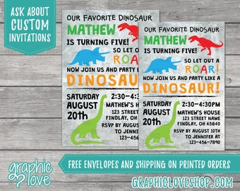 Personalized Dinosaur Birthday Invitations | 4x6 or 5x7, Digital File or Printed