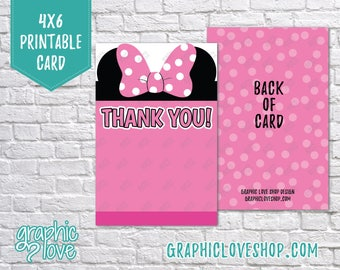 Printable 4x6 Pink Minnie Mouse Thank You Card - Folded or Postcard   Digital JPG Files, Instant Download, File NOT Editable, Ready to Print