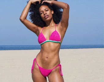 Crochet PINK WATERMELON bikini set