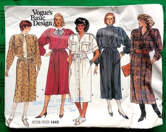 "Vintage 1980s dress with dropped shoulder shirt-dress sewing pattern - Vogue Basic Design 1443 - size 10 (32.5"" bust, 25"" waist, 34.5"" hip)"