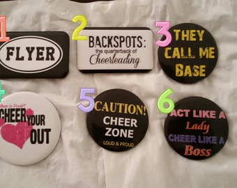 Cheerleading pin back buttons