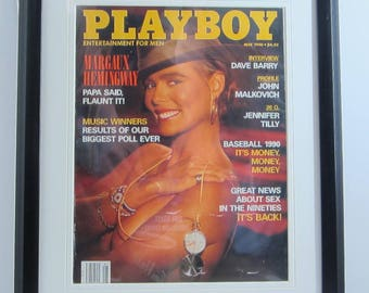 Vintage Playboy Magazine Cover Matted Framed : May 1990 -  Margaux Hemingway