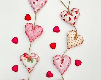 Handmade Vintage Pink Patterned Fabric Hearts on a String