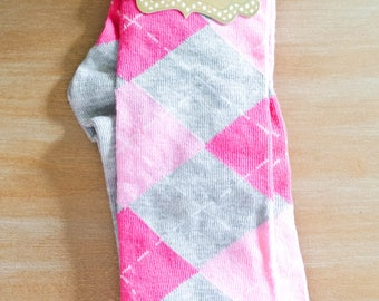 Pink and Gray Argyle Knee High Socks/Gift for Teen/Gift for Friend/Cotton Blend/Comfortable/Gift for a Girl/Pink/Gray/Argyle
