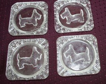 1950's Scottie Dog Glass Ashtrays - set of 4
