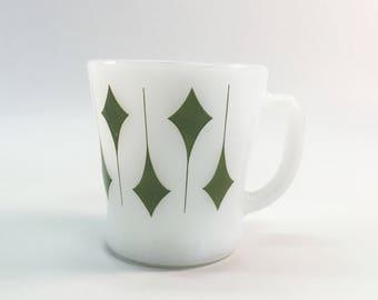 Vintage Milk Glass Mug Green Diamonds Anchor Hocking Fire King