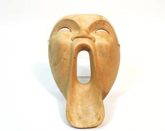 Vintage Hand Carved Wood Mask Big Mouth Indonesian 'O' Face Mask Spirit Demon Wall Decor