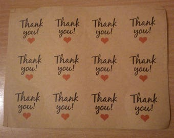 thank you round Brown 12 stickers