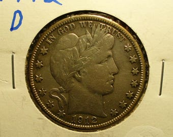 Silver US Liberty Head Half Dollar 1912D