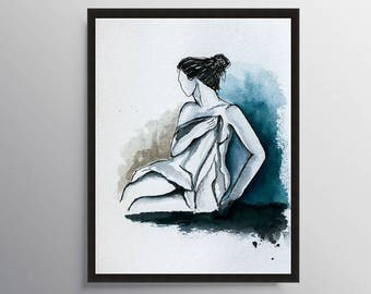Nude Art, Woman Illustration, Bathroom Decor, Bedroom wall art, Figure Sketch, Art Print, Watercolor Painting, Erotic art, Figure art