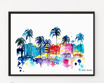 Miami art, Poster print, Cityscape, Travel poster, Miami Print, Travel art, City art Print, Illustration, Printable art, Watercolor print