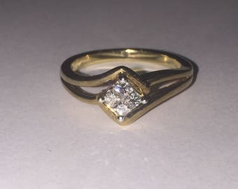 4 Stone Princess Cut Composite Diamond ring set in 18ct Yellow Gold