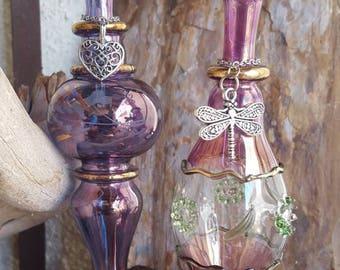 "6""  Iridescent Floral Glass Urn | Keepsake Vase | Memorial Vase  | Cremation Jewelry | Keepsake Urn | Charm Choice & Funnel Included"
