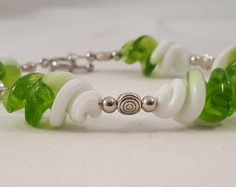 Green & White Swirl Silver Bracelet - Green Bracelet - Silver Bracelet - White Bracelet - Glass Bead Bracelet - Swirl Bracelet- Green- White