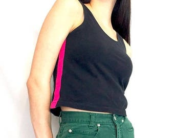 SUMMER SALE Vintage 80s 90s Pink and Black Striped Color Block Athletic Goth Tank Top Crop Top