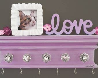 """Necklace Holder Wall, Hanging Jewelry Storage, Lavender Hair Bow Organizer, 12"""" Headband Holder with Hooks, Teen Girls Room Decor"""