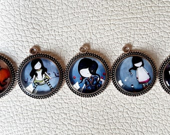 No.20 - 5 pcs pendants 20mm glass cabochon girl