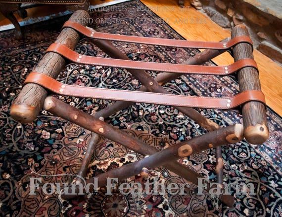 Amazing Vintage Handmade Hickory Wood and Leather Luggage Butler