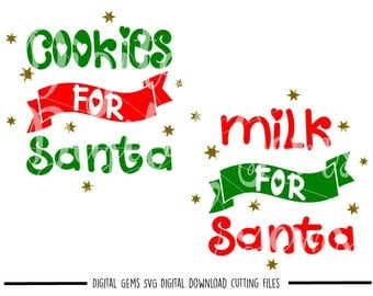 Cookies For Santa, Milk For Santa svg / dxf / eps / png files. The files work well with Silhouette and Cricut. Digital Download.