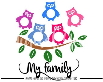Owl family tree svg / dxf / eps / png files. Digital download. Small commercial use ok.
