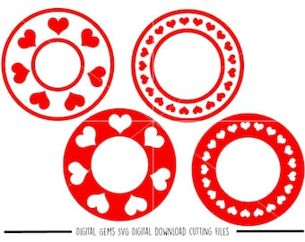 Heart frames svg / dxf / eps / png files. Digital download. Compatible with Cricut and Silhouette machines. Small commercial use ok.