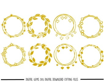 heart, leaf, star and circle frames svg / dxf / eps / png files. Digital download. Compatible with Cricut and Silhouette machines.