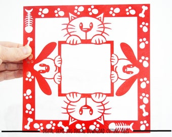 Peeping Cat and Dog paper cut svg / dxf / eps / files and pdf / png printable templates for hand cutting. Download. Commercial use ok