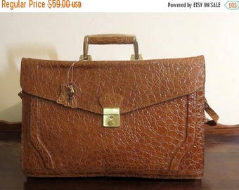 Back To School Sale Paco Paris Embossed Woman's Briefcase With Brass Hardware, Lock And Key- VGC