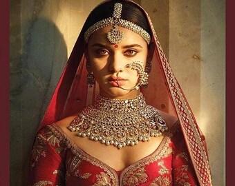 ON SALE Sabyasachi Choker Necklace Set,Hathphool,Indian Mathapatti,Indian Earrings, Kundan Necklace, Indian Jewelry, Rajputana Bridal Jewelr