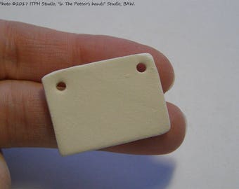 1 pc  Rectangle bisque 28mm x 25mm Ceramic Blank Clay Diffuser pendant charm ornament gift tag Aromatherapy kids DIY jewelry ITPH