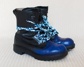 Mens British Army Boots in Black and Blue Leather, Combat Boots, Military Boots, Grunge Metal Boots - Medium Signs of Wear