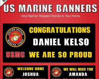 Marine Corps Banner - Graduation, Welcome Home, We Will Miss You - Vinyl Banner