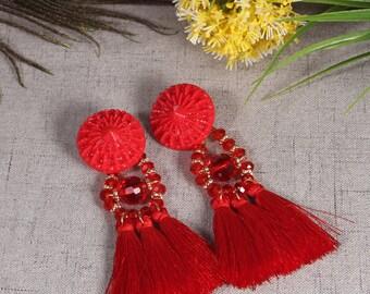 Tassel Earrings, Drop Earrings, Red Tassel Earrings, Boho Tassel Earrings,Tassel Dangle Earrings, For Women, Tassel Jewelry