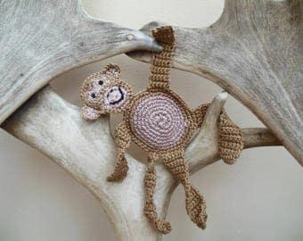Monkey Applique, Crochet Applique, Monkey Motif, Animal Applique Cotton Embellishment. Ideal For Crafting. Large Size 9 x 7. 5 inches.