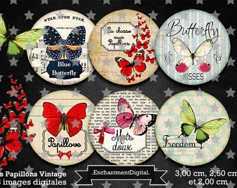 digital images * Butterfly Vintage * butterfly flower collage digital scrapbooking cabochon jewel